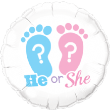 "He or She Footprints Foil Balloon (18"") 1pc"